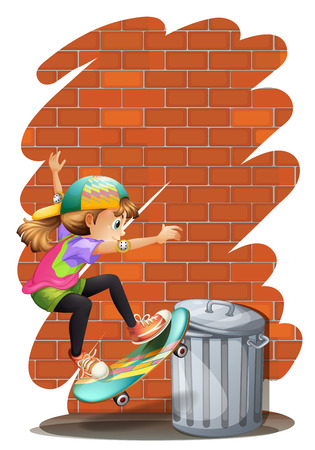 Illustration of a girl skateboarding near the trashcan on a white background Vector