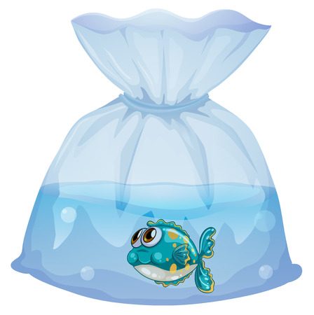 Illustration of a plastic pouch with a fish on a white background Stock Vector - 29111570