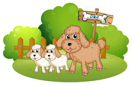 bestfriend: Illustration of the cute dogs near the signboard on a white background