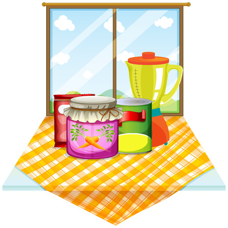 Illustration of a table near the window with foods inside the containers on a white background Stock Vector - 29111578