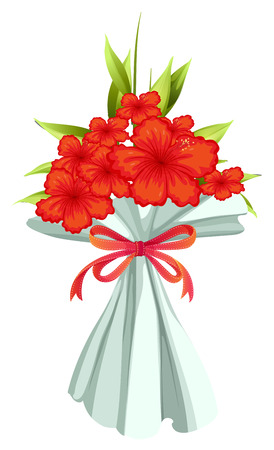 Illustration of a boquet of red flowers on a white background Vector