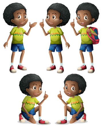 Illustration of the five Black boys on a white background