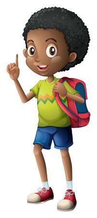 Illustration of a Black schoolboy on a white background