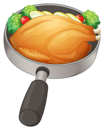 big breast: Illustration of a pan with a fried chicken on a white background