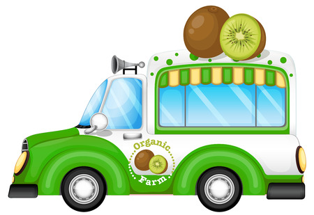Illustration of a green vehicle selling kiwi fruits on a white background Vector