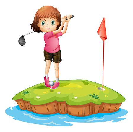 teen golf: Ilustración de una isla con una chica jugando al golf en un fondo blanco