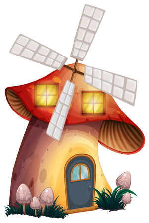 enchanted: Illustration of a mushroom house with a windmill on a white background Illustration