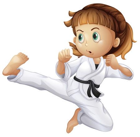 白い背景に空手をやっている勇敢な若い女の子のイラスト