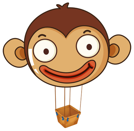 Illustration of a monkey balloon with an empty basket on a white background Vector