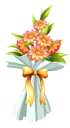 Illustration of a boquet of fresh flowers on a white background Vector