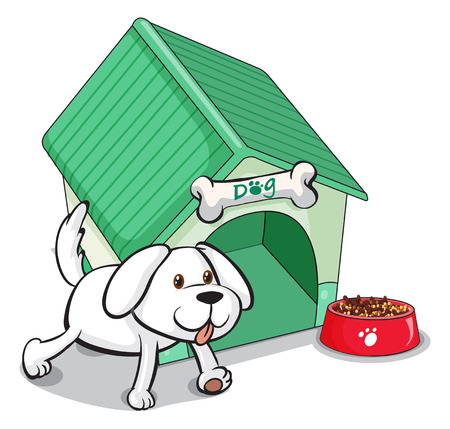 animal shelter: Illustration of a cute pet outside the pethouse on a white background
