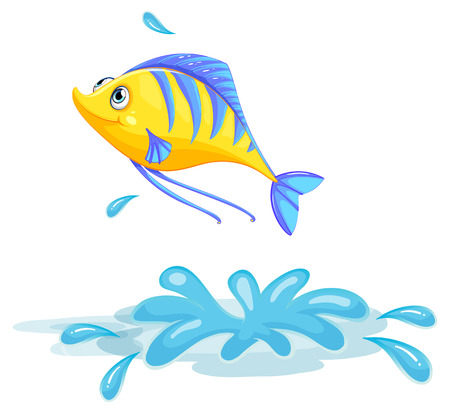 pond water: Illustration of a yellow fish on a white background
