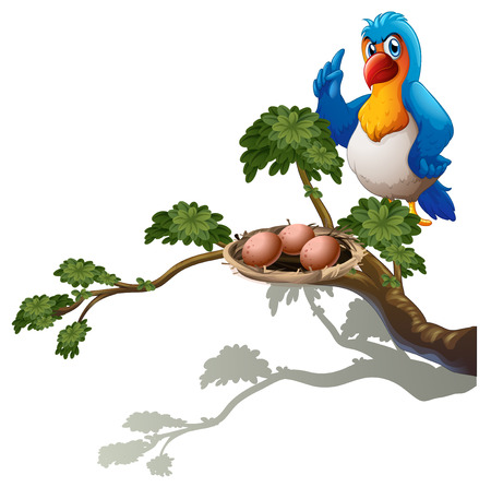 guarding: Illustration of a parrot at the branch of a tree with a nest on a white background Illustration