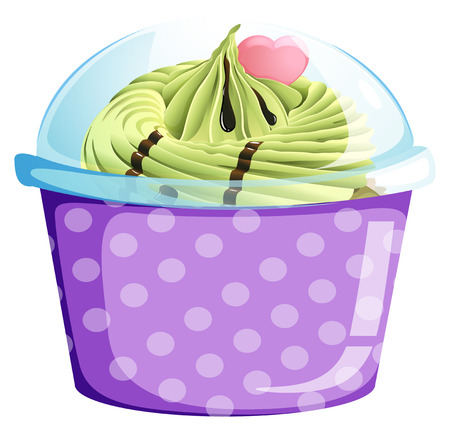 Illustration of a lavender cupcake container on a white background Vector