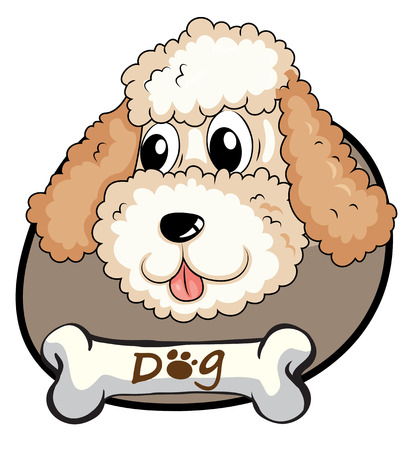 Illustration of a head of a cute dog on a white background Vector