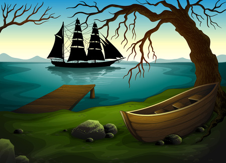 Illustration of a black ship at the sea across the boat under the tree Vector