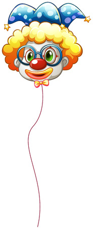 Illustration of a clown balloon with an eyeglass on a white background Vector
