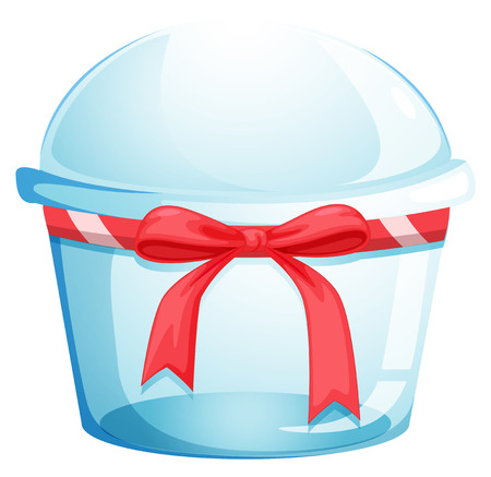 disposable: Illustration of an empty disposable container with a red ribbon on a white background Illustration