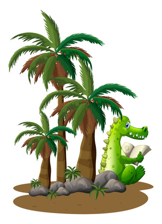palm reading: Illustration of a crocodile reading near the coconut trees on a white background