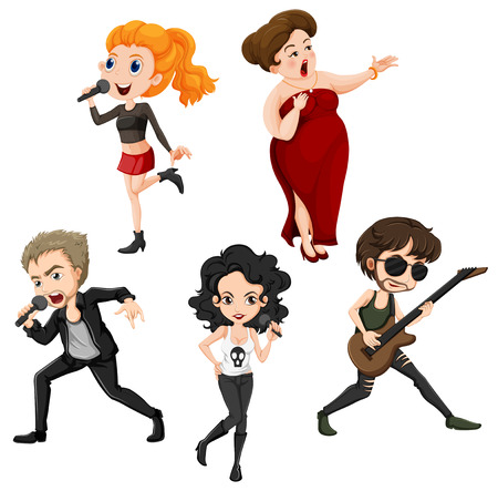 Illustration of the talented singers on a white background Vector