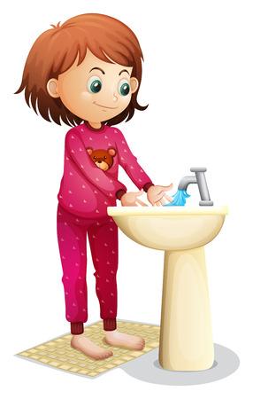 propret�: Illustration d'une jeune femme lave son visage sur un fond blanc