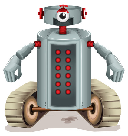 programmed: Illustration of a robot with red buttons on a white background