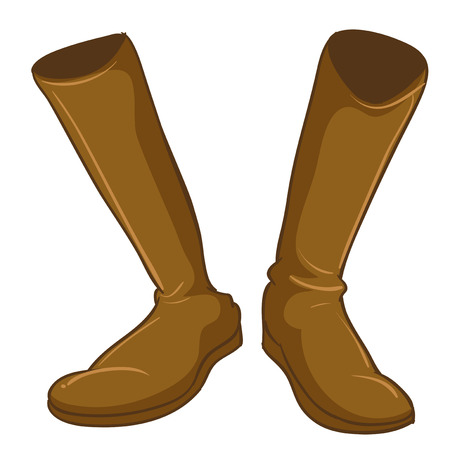 hard rain: Illustration of a pair of a fashionable brown boots on a white background
