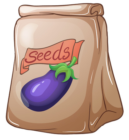 pouch: Illustration of a pouch of eggplant seeds on a white background
