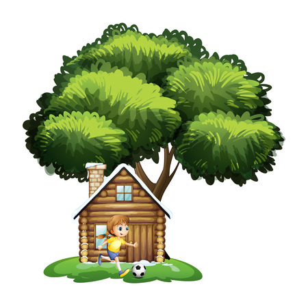 bamboo house: Illustration of a girl playing soccer outside the house on a white background