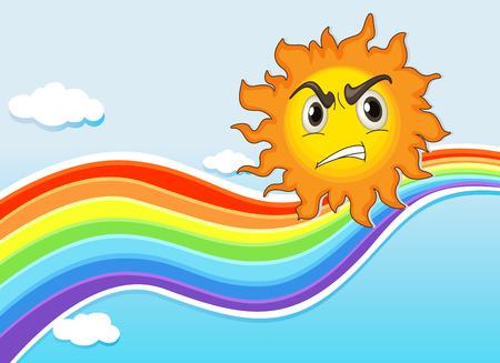 scowl: Illustration of a mad sun near the rainbow Illustration