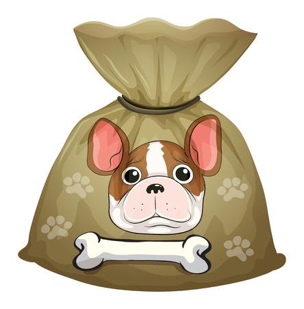 huellas de perro: Ilustración de un paquete de comida para perros con una etiqueta vacía sobre un fondo blanco