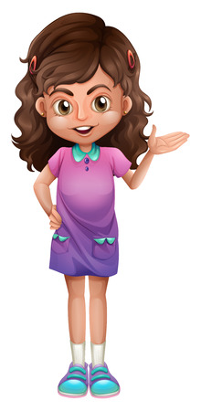 wavy hair: Illustration of a cute little girl on a white background