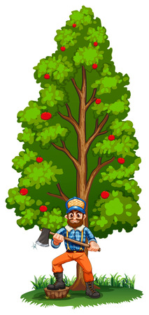 tall tree: Illustration of a lumberjack under the tall tree on a white background