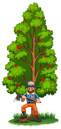 arboles frondosos: Ilustración de un leñador bajo el gran árbol sobre un fondo blanco Vectores