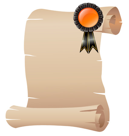 scrolled: Illustration of an empty scrolled paper with a ribbon on a white background