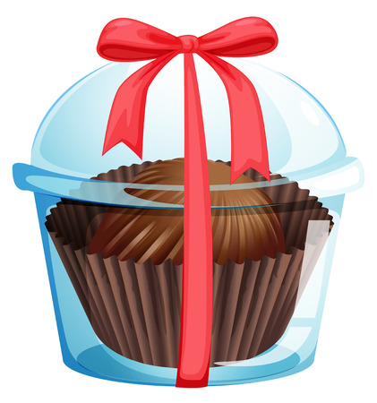 flavorful: Illustration of a cupcake inside a container with a red ribbon on a white background Illustration