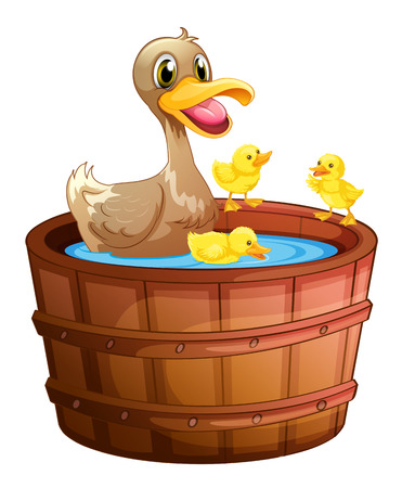 personal grooming: Illustration of the ducks taking a bath at the bathtub on a white background Illustration