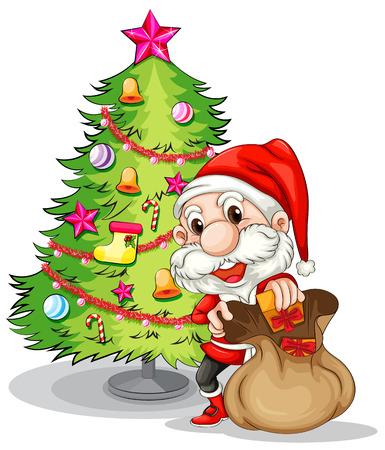 tree drawing: Illustration of Santa Claus near the christmas tree on a white background Illustration