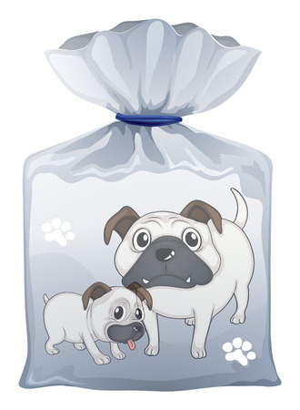 pouch: Illustration of a plastic pouch with a picture of two cute dogs on a white background Illustration