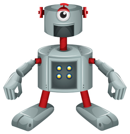 computerized: Illustration of a grey robot on a white background Illustration