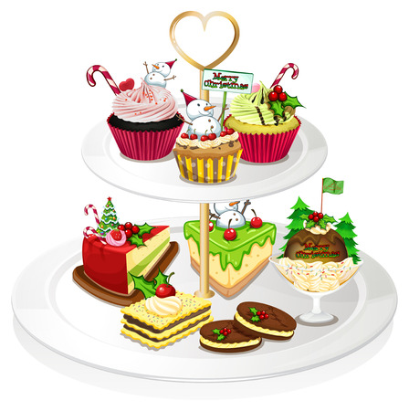 occassion: Illustration of a tray with cupcakes on a white background