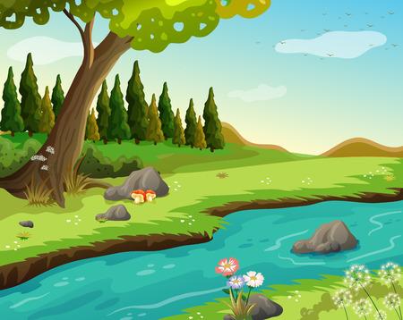 Illustration von einem Fluss in den Wald