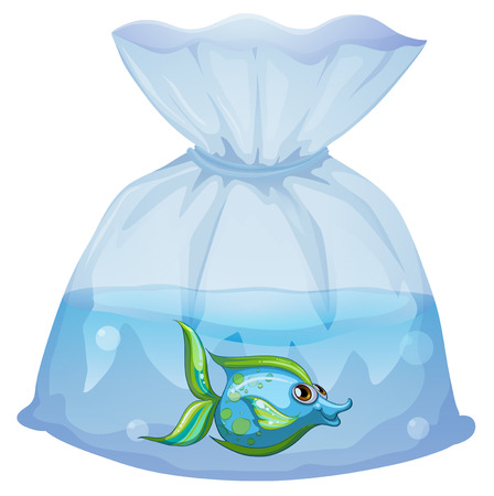 Illustration of a blue fish inside the plastic pouch on a white background Stock Vector - 29111984