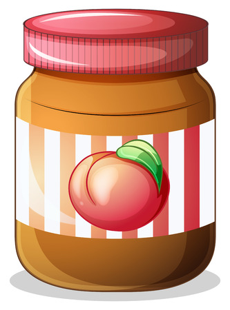 Illustration of a bottle of fruit jam on a white background Vector