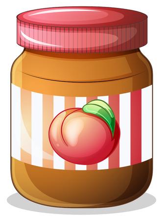 preservative: Illustration of a bottle of fruit jam on a white background Illustration