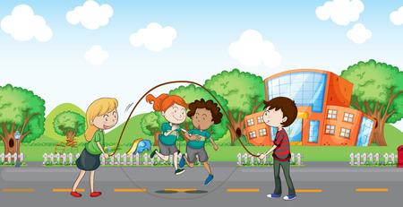 jumping fence: Ilustración de los niños jugando en la calle Vectores