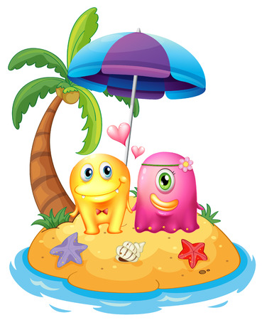 Illustration of an island with monsters on a white background Vector