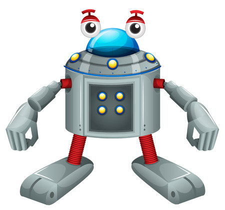 computerized: Illustration of a cute gray robot on a white background