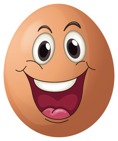 happy face: Illustration of a smiling egg on a white background Illustration