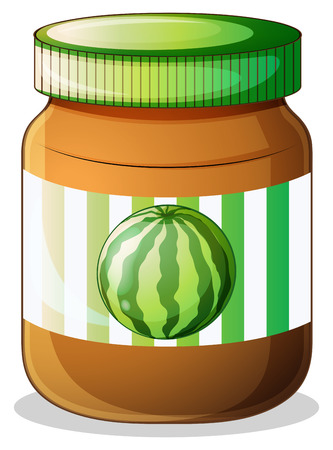 breakable: Illustration of a jar of watermelon jam on a white background